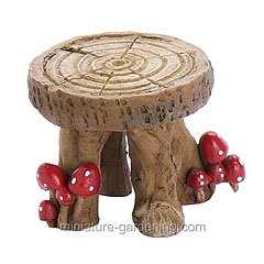 Stool decorated with mushrooms