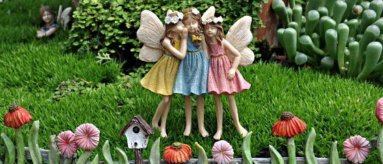Fairies in a Miniature Garden